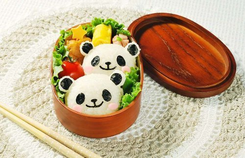 panda molds in bento box